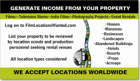 Rent your home or business as a film location